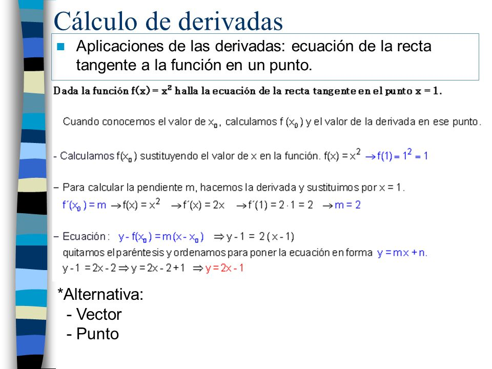 Cálculo de derivadas *Alternativa: - Vector - Punto