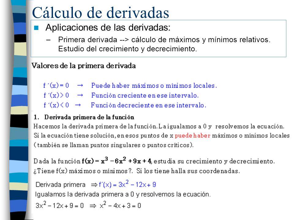 Cálculo de derivadas Aplicaciones de las derivadas: