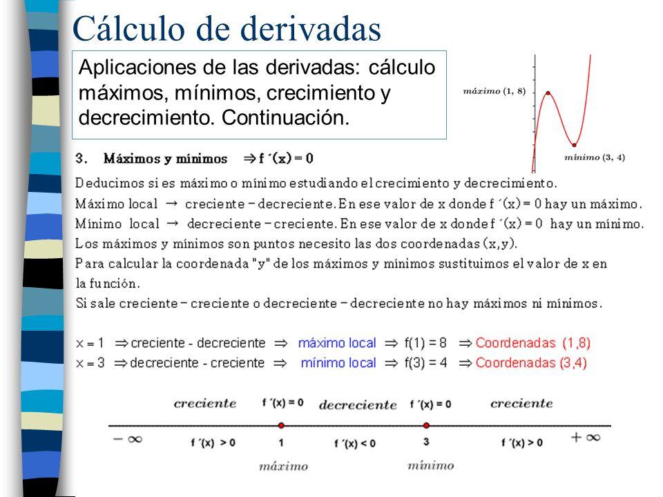 Cálculo de derivadas Aplicaciones de las derivadas: cálculo máximos, mínimos, crecimiento y decrecimiento.