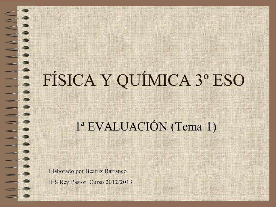 FÍSICA Y QUÍMICA 3º ESO 1ª EVALUACIÓN (Tema 1)