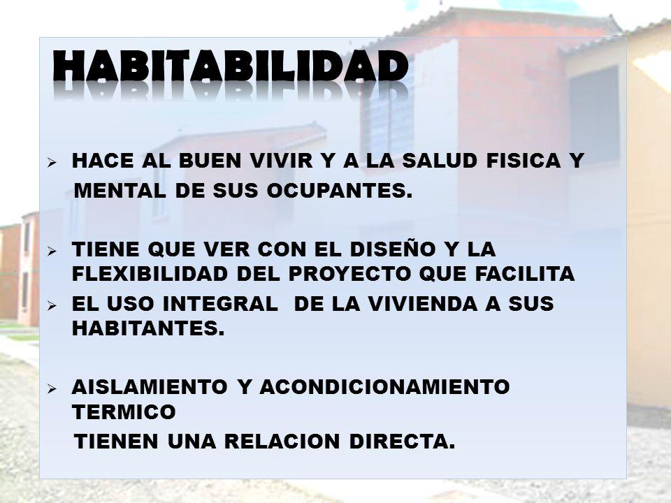 HABITABILIDAD HACE AL BUEN VIVIR Y A LA SALUD FISICA Y
