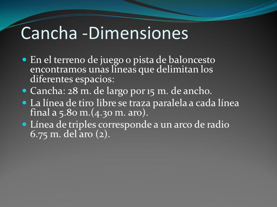 Cancha -Dimensiones En el terreno de juego o pista de baloncesto encontramos unas líneas que delimitan los diferentes espacios: