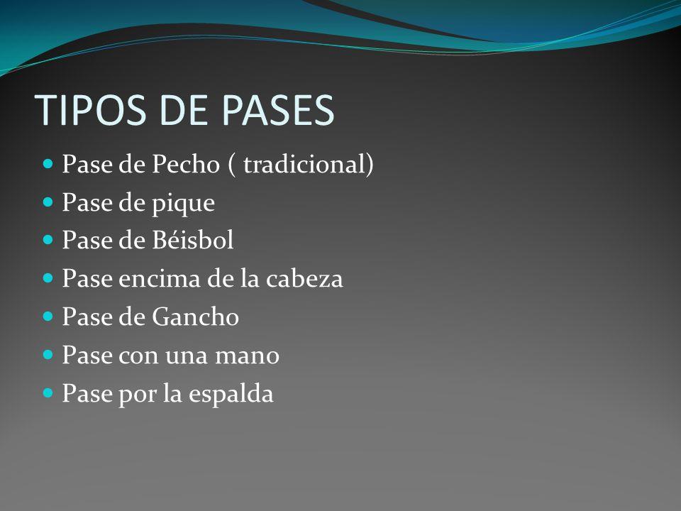 TIPOS DE PASES Pase de Pecho ( tradicional) Pase de pique