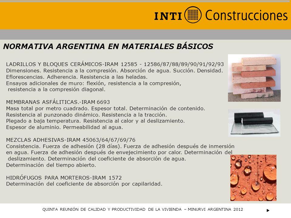 NORMATIVA ARGENTINA EN MATERIALES BÁSICOS