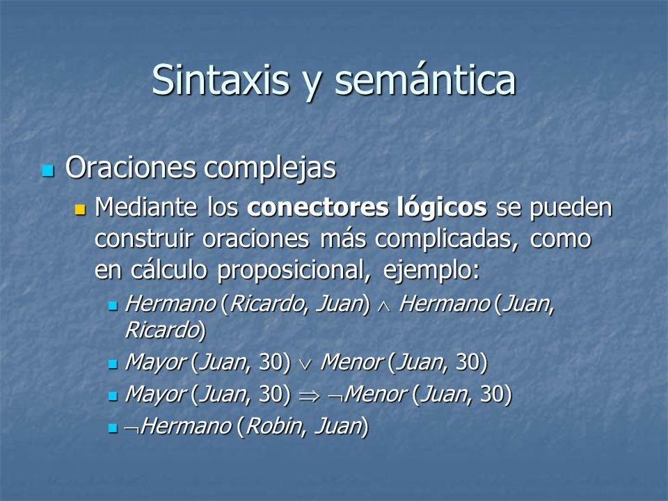 Sintaxis y semántica Oraciones complejas