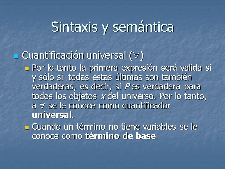 Sintaxis y semántica Cuantificación universal ()