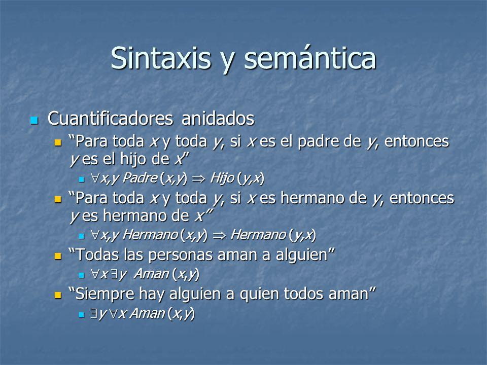 Sintaxis y semántica Cuantificadores anidados