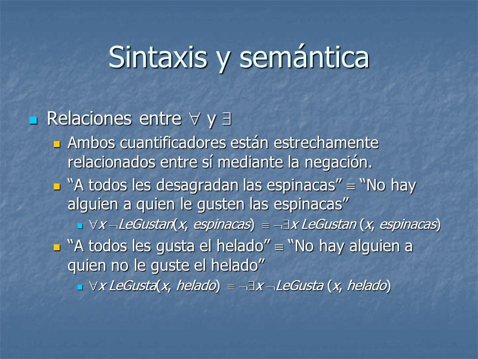 Sintaxis y semántica Relaciones entre  y 