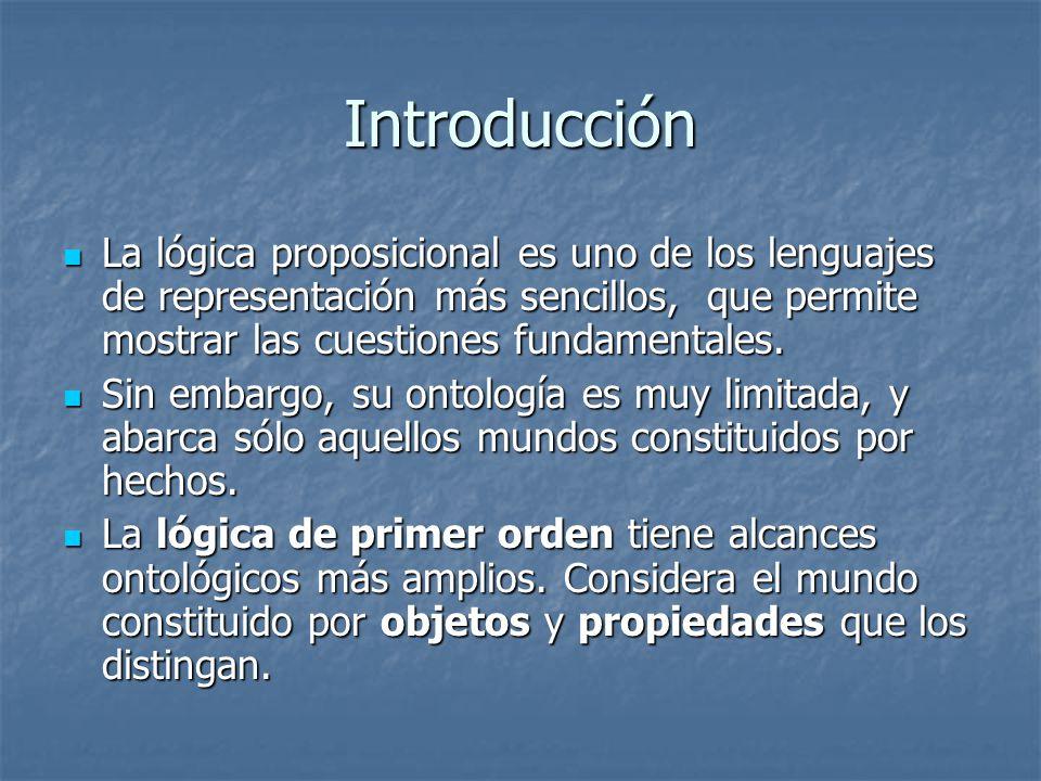 Introducción La lógica proposicional es uno de los lenguajes de representación más sencillos, que permite mostrar las cuestiones fundamentales.