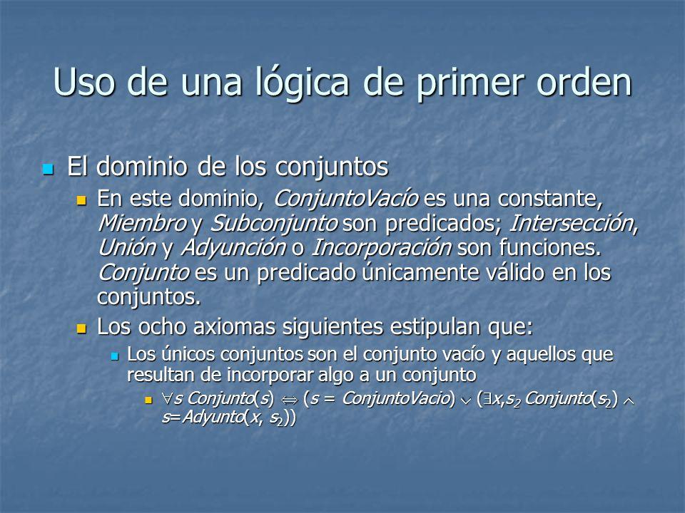 Uso de una lógica de primer orden