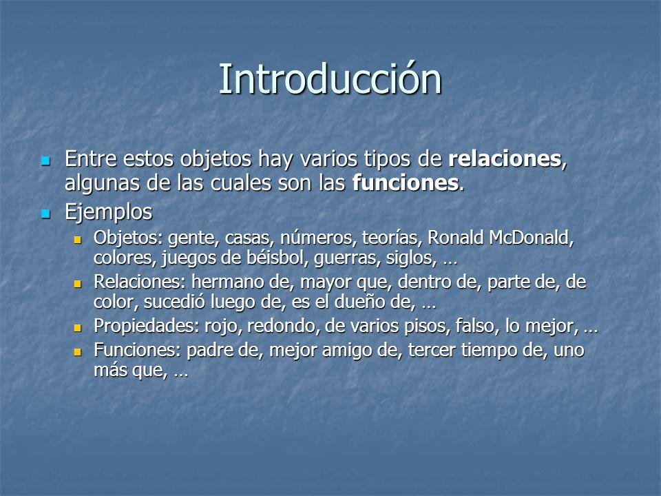 Introducción Entre estos objetos hay varios tipos de relaciones, algunas de las cuales son las funciones.