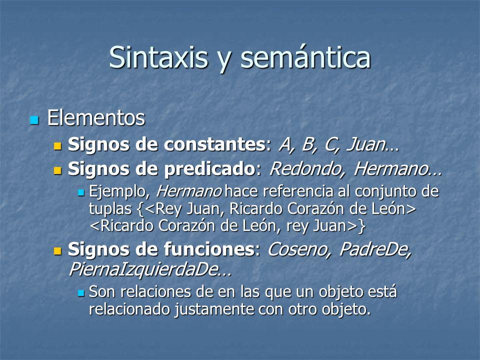 Sintaxis y semántica Elementos Signos de constantes: A, B, C, Juan…