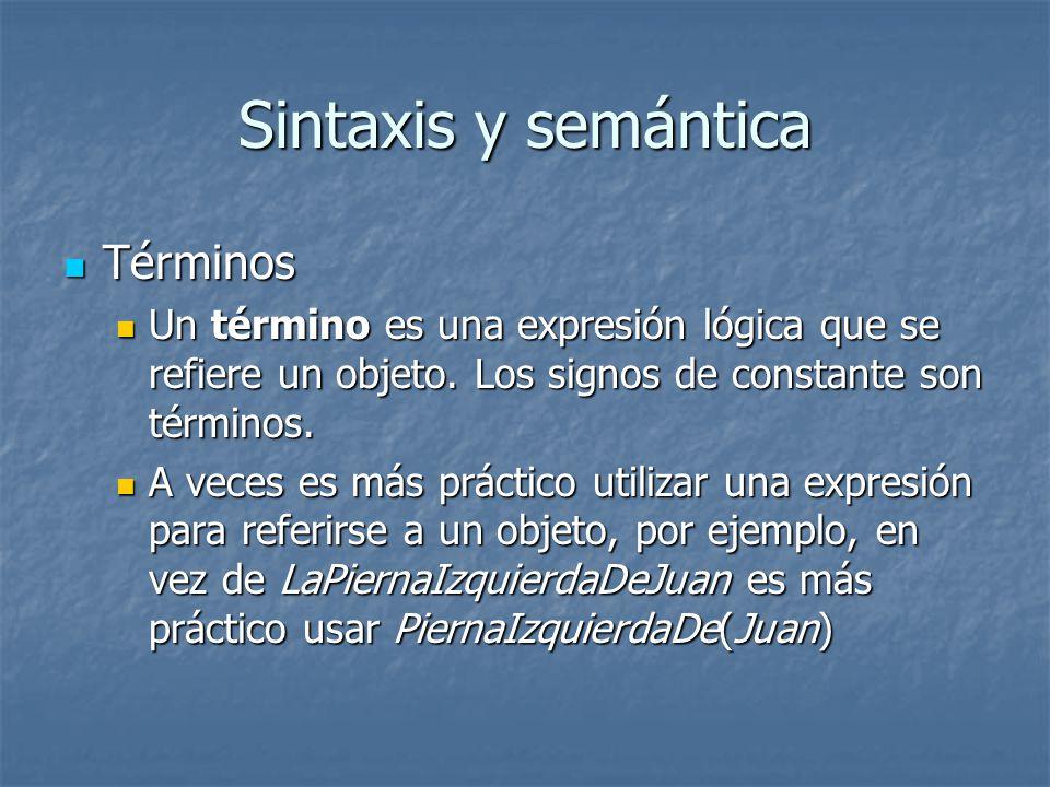 Sintaxis y semántica Términos
