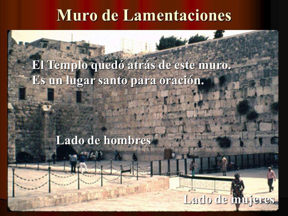 Muro de Lamentaciones El Templo quedó atrás de este muro. Es un lugar santo para oración. Lado de hombres.