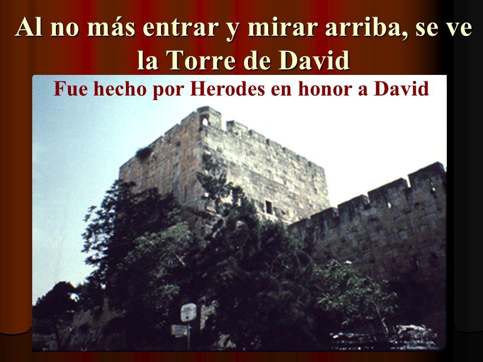 Al no más entrar y mirar arriba, se ve la Torre de David