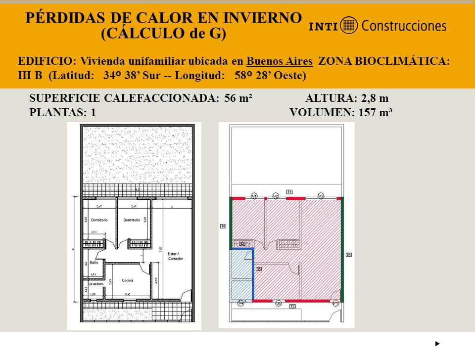 PÉRDIDAS DE CALOR EN INVIERNO (CÁLCULO de G)