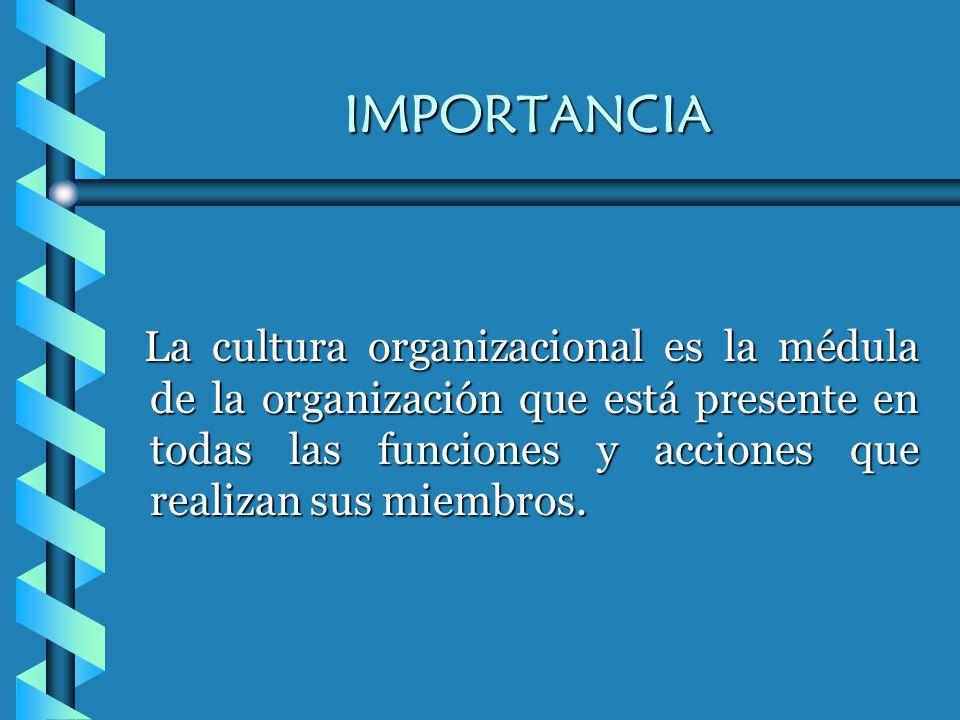 IMPORTANCIA La cultura organizacional es la médula de la organización que está presente en todas las funciones y acciones que realizan sus miembros.