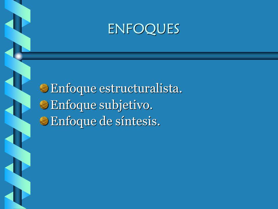 ENFOQUES Enfoque estructuralista. Enfoque subjetivo.