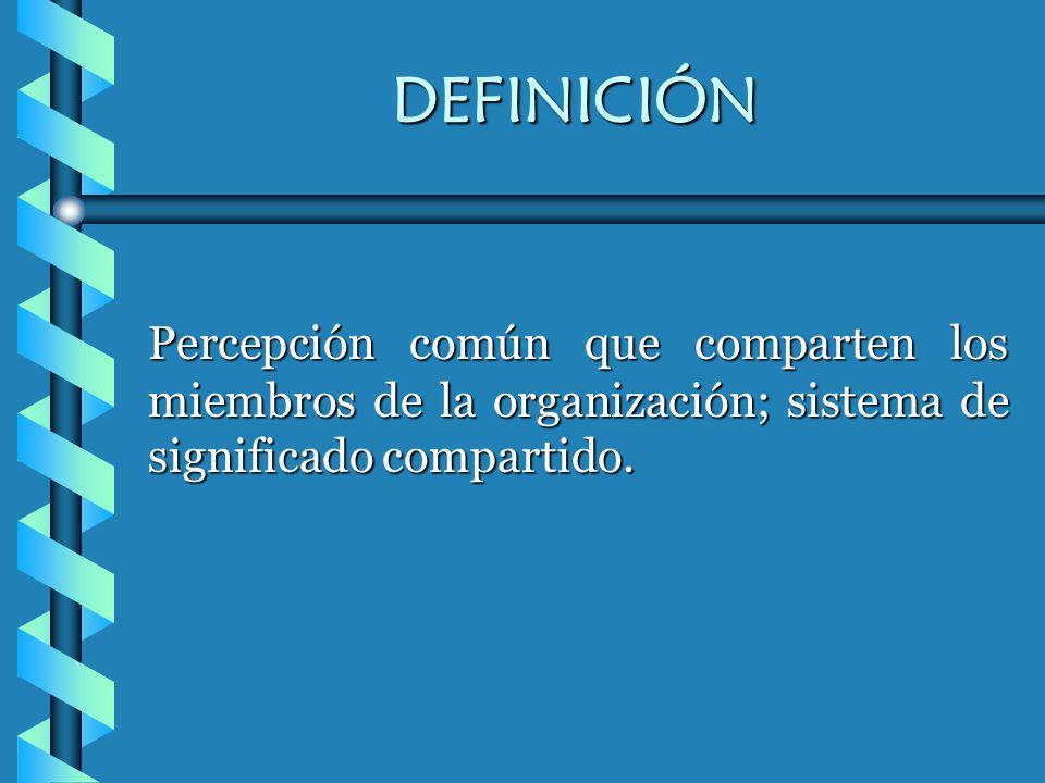 DEFINICIÓN Percepción común que comparten los miembros de la organización; sistema de significado compartido.