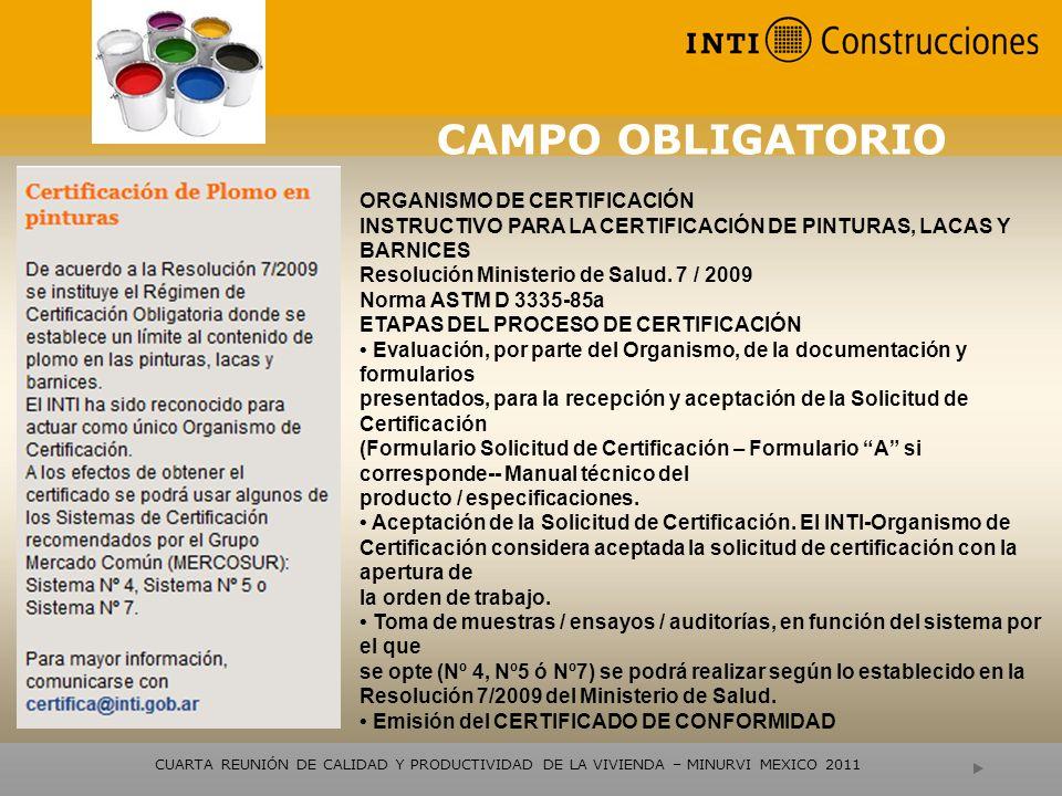 CAMPO OBLIGATORIO ORGANISMO DE CERTIFICACIÓN