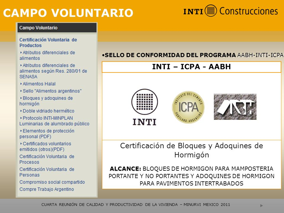 Certificación de Bloques y Adoquines de Hormigón