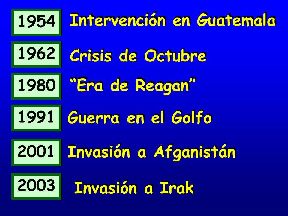 1954 Intervención en Guatemala. 1962. Crisis de Octubre. 1980. Era de Reagan 1991. Guerra en el Golfo.