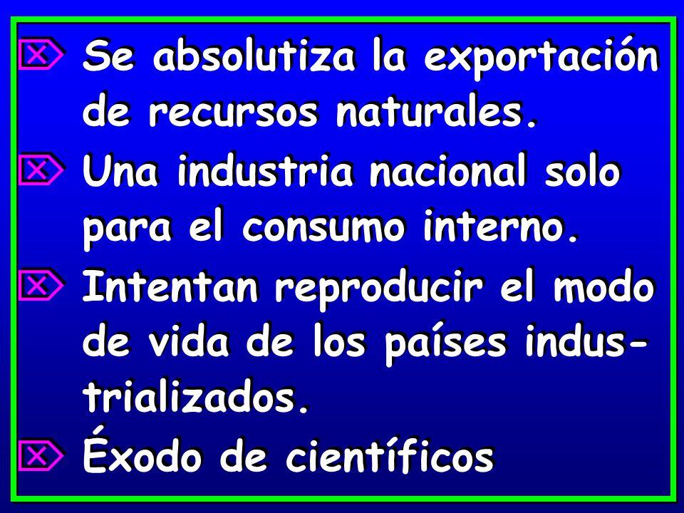 Se absolutiza la exportación de recursos naturales.