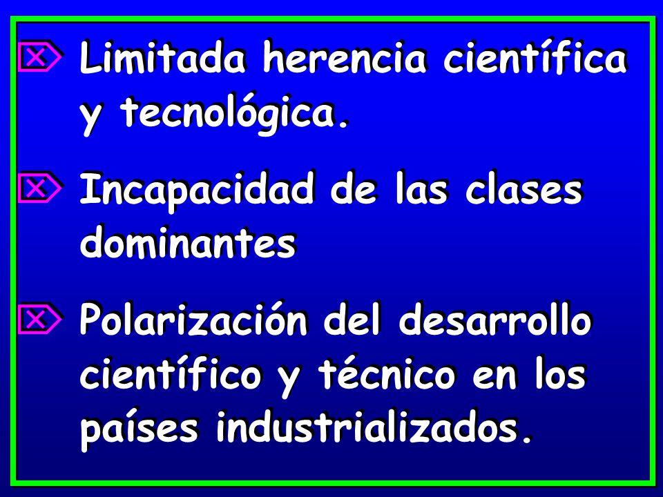 Limitada herencia científica y tecnológica.