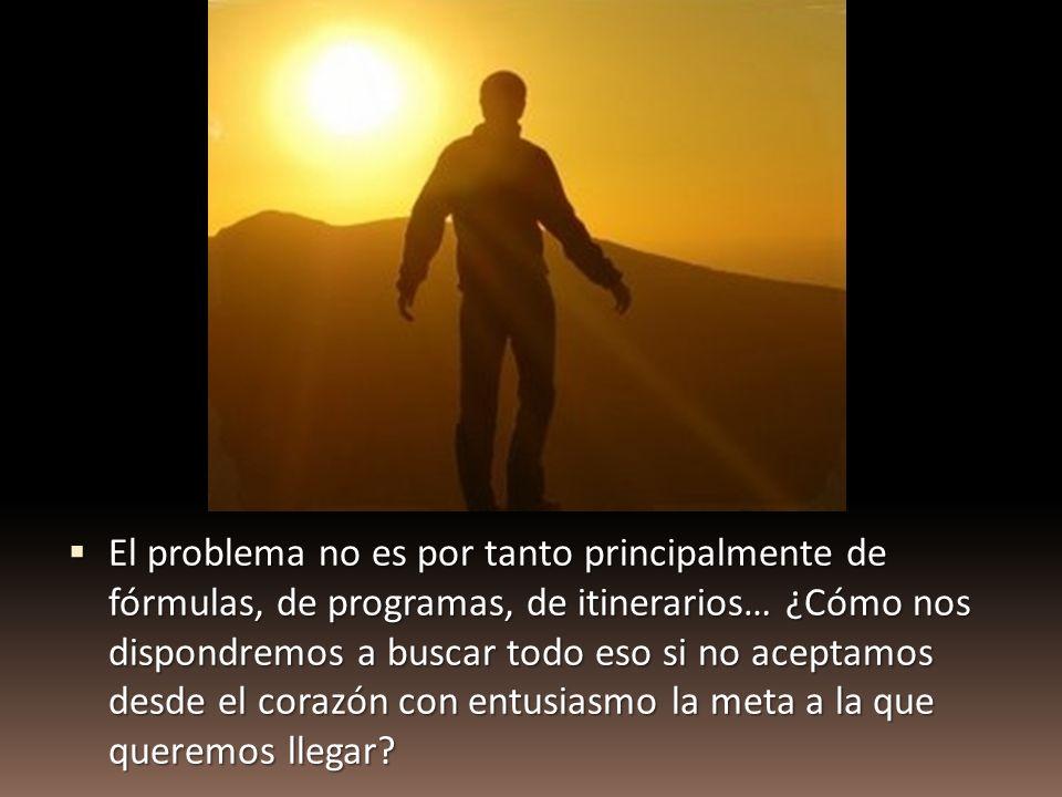 El problema no es por tanto principalmente de fórmulas, de programas, de itinerarios… ¿Cómo nos dispondremos a buscar todo eso si no aceptamos desde el corazón con entusiasmo la meta a la que queremos llegar