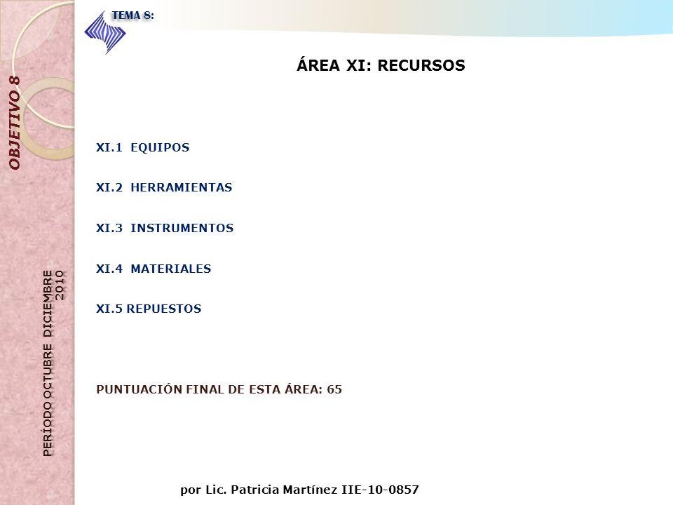 ÁREA XI: RECURSOS OBJETIVO 8 TEMA 8: CONTROL DE CALIDAD XI.1 EQUIPOS