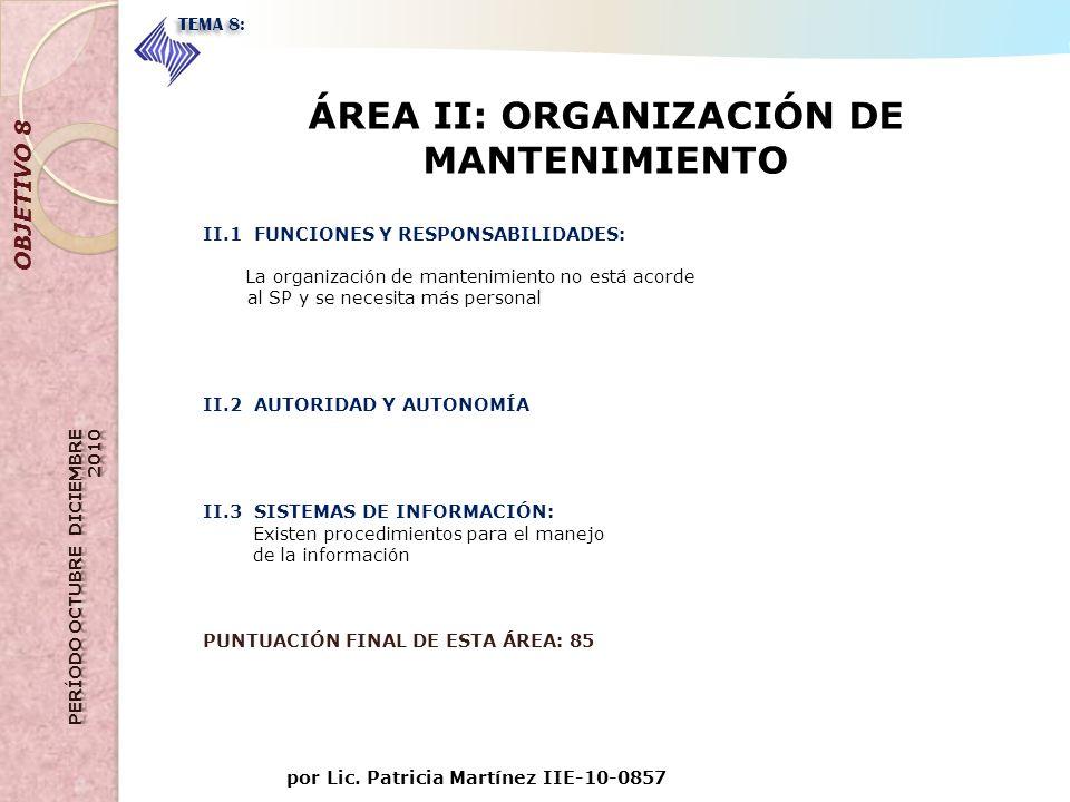ÁREA II: ORGANIZACIÓN DE MANTENIMIENTO