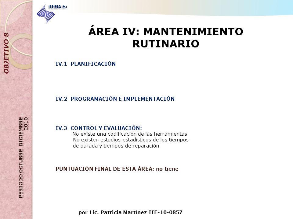 ÁREA IV: MANTENIMIENTO RUTINARIO