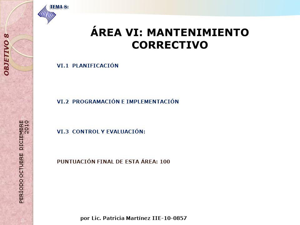 ÁREA VI: MANTENIMIENTO CORRECTIVO