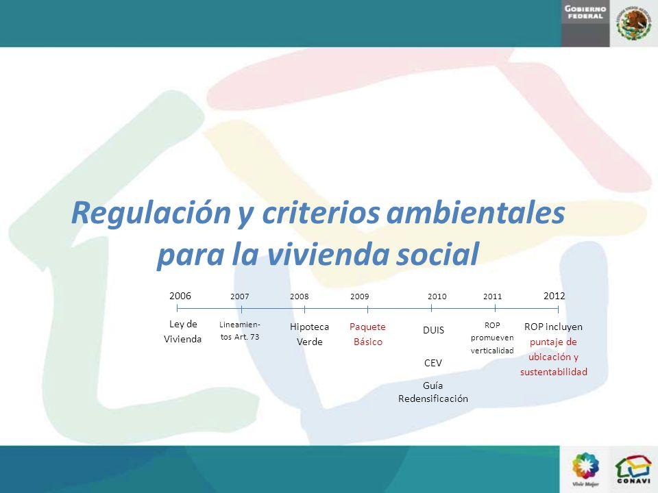 Regulación y criterios ambientales para la vivienda social