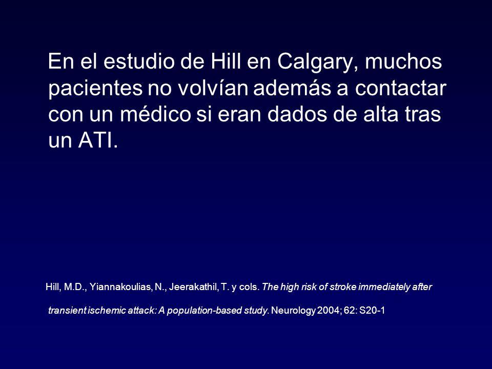 En el estudio de Hill en Calgary, muchos pacientes no volvían además a contactar con un médico si eran dados de alta tras un ATI.