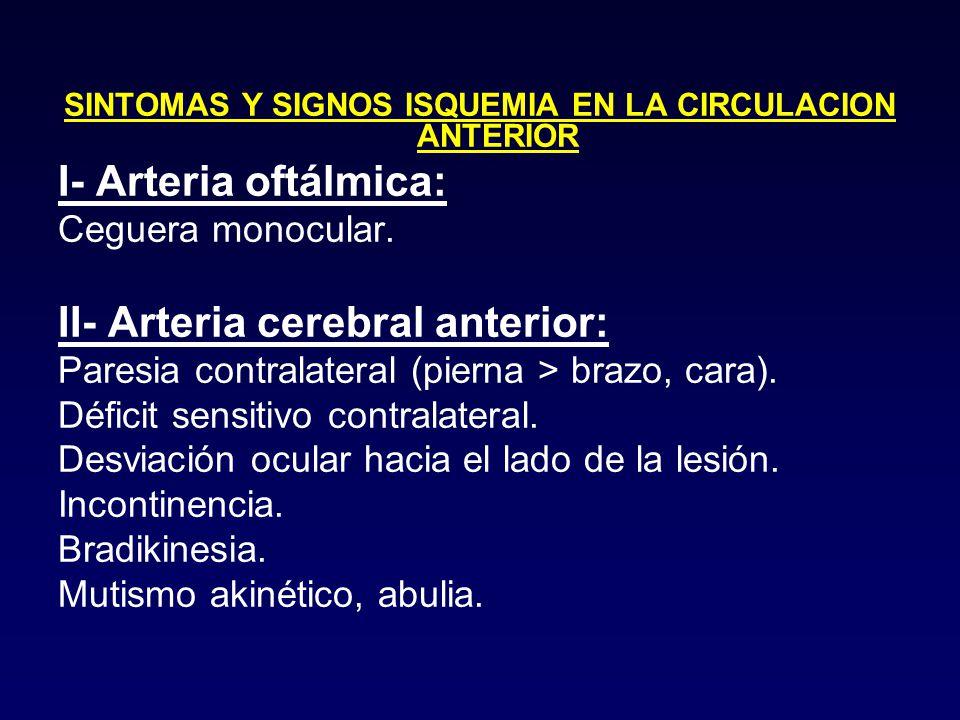 SINTOMAS Y SIGNOS ISQUEMIA EN LA CIRCULACION ANTERIOR
