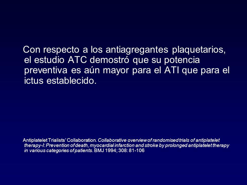 Con respecto a los antiagregantes plaquetarios, el estudio ATC demostró que su potencia preventiva es aún mayor para el ATI que para el ictus establecido.