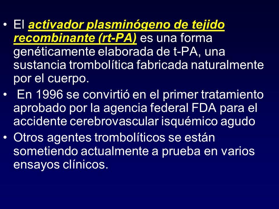 El activador plasminógeno de tejido recombinante (rt-PA) es una forma genéticamente elaborada de t-PA, una sustancia trombolítica fabricada naturalmente por el cuerpo.