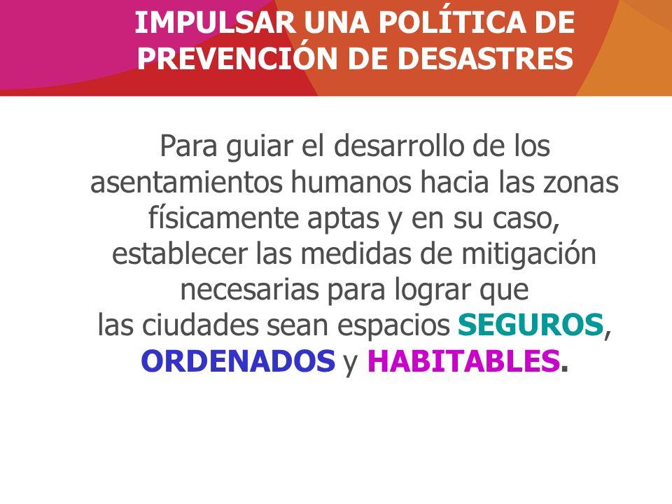 IMPULSAR UNA POLÍTICA DE PREVENCIÓN DE DESASTRES