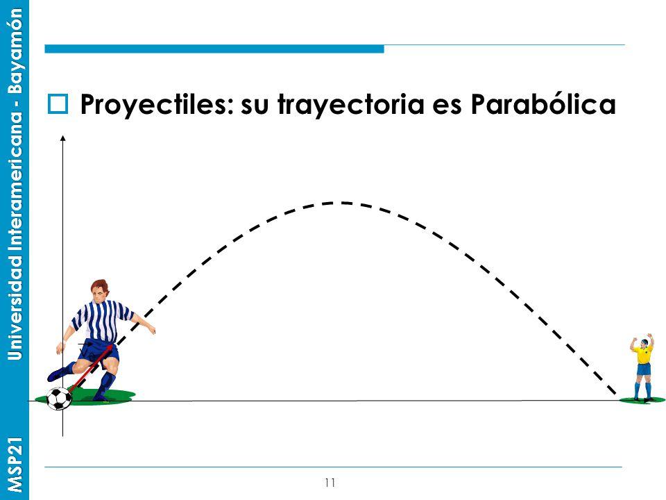 Proyectiles: su trayectoria es Parabólica