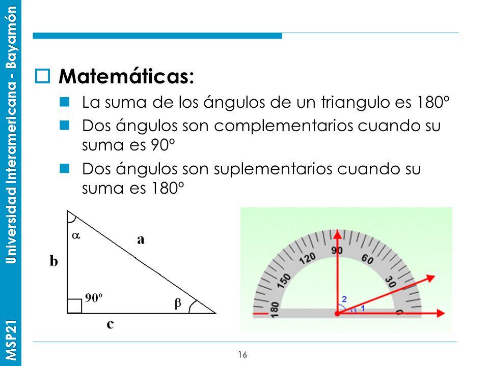 Matemáticas: La suma de los ángulos de un triangulo es 180º