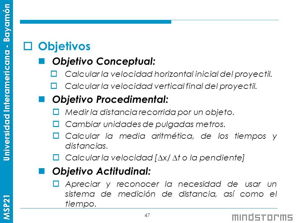 Objetivos Objetivo Conceptual: Objetivo Procedimental: