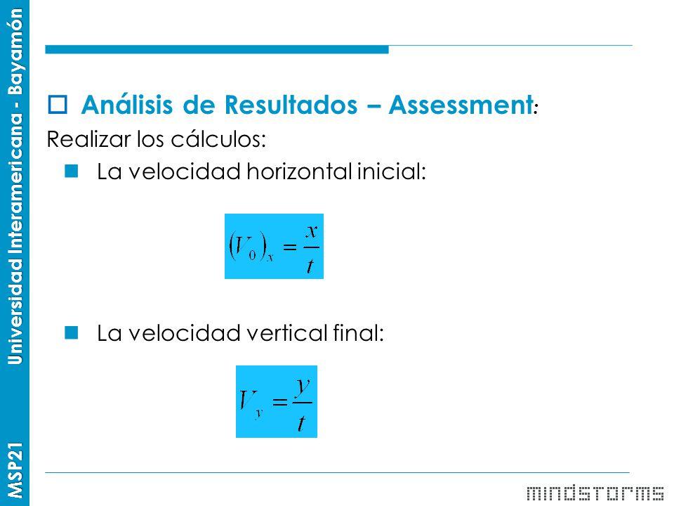 Análisis de Resultados – Assessment: