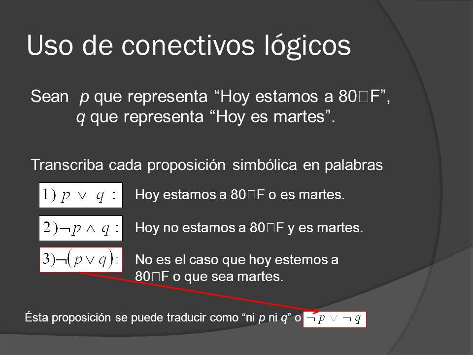 Uso de conectivos lógicos