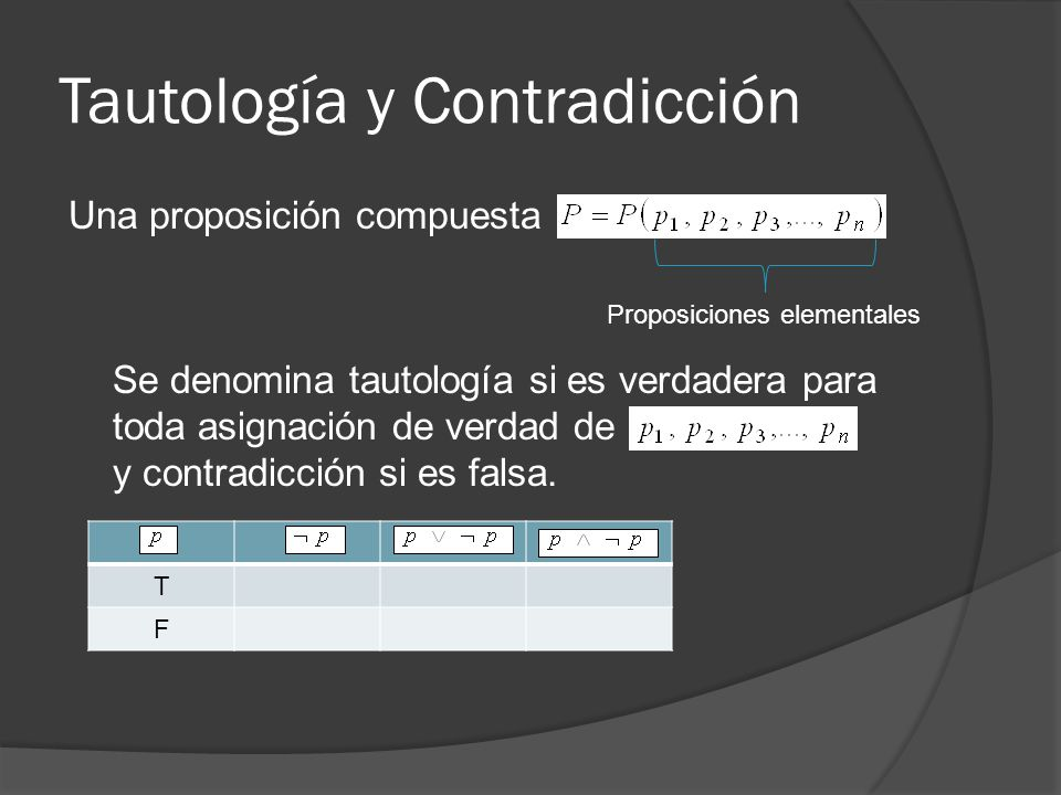 Tautología y Contradicción