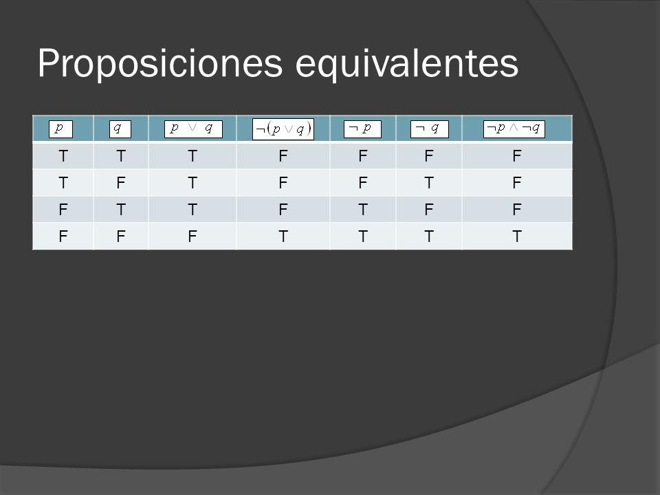 Proposiciones equivalentes