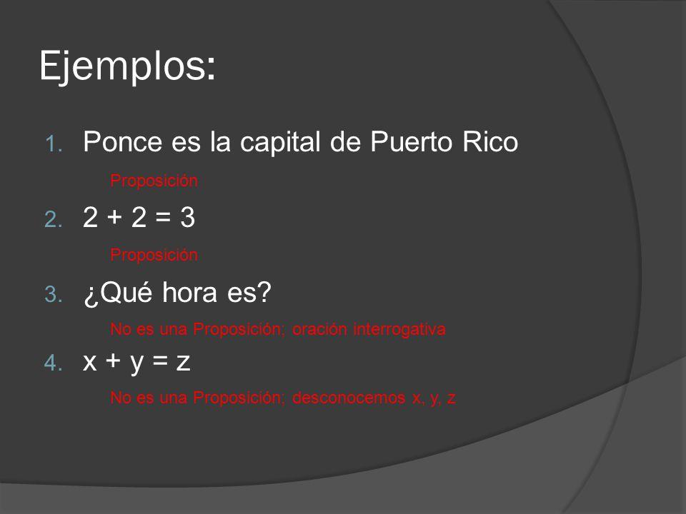Ejemplos: Ponce es la capital de Puerto Rico 2 + 2 = 3 ¿Qué hora es