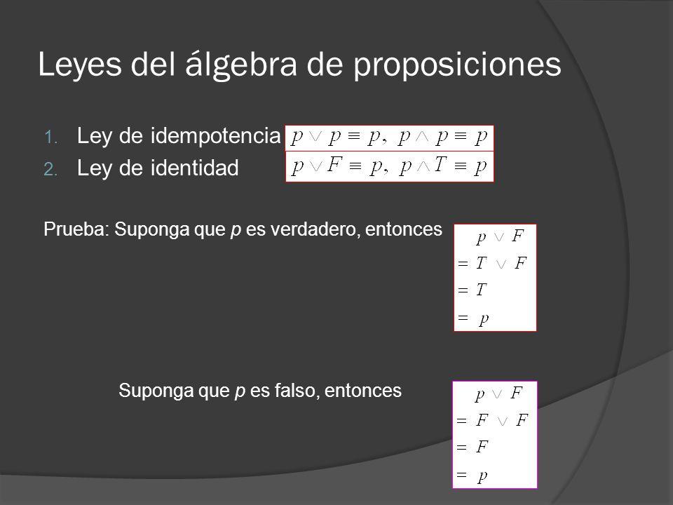 Leyes del álgebra de proposiciones