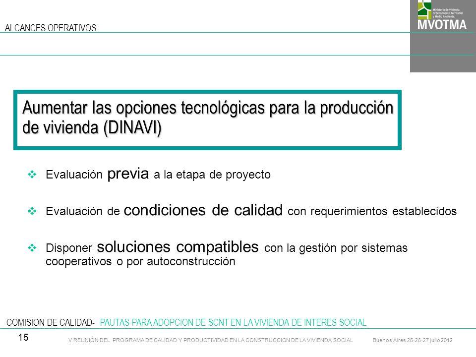 ALCANCES OPERATIVOS Aumentar las opciones tecnológicas para la producción de vivienda (DINAVI) Evaluación previa a la etapa de proyecto.