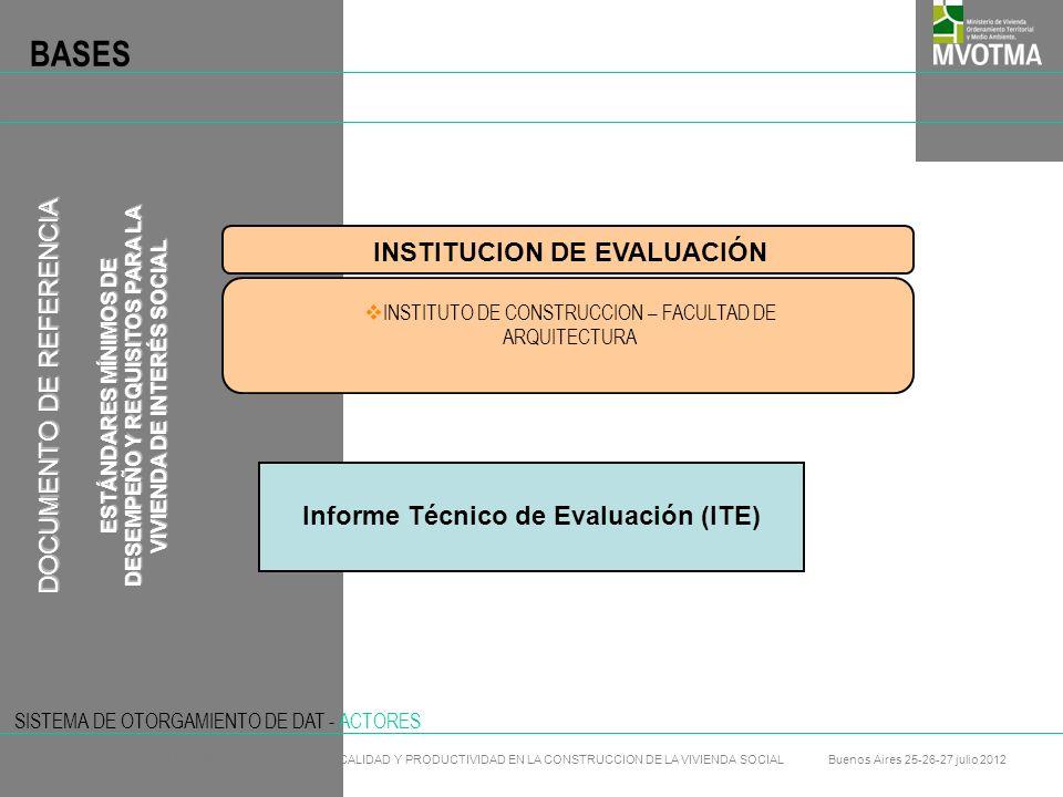 BASES INSTITUCION DE EVALUACIÓN DOCUMENTO DE REFERENCIA